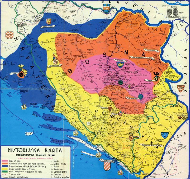 Srednjovjekovna Bosna karta