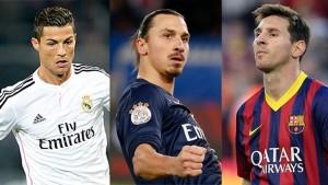 Cristiano Ronaldo, Lionel Messi, Zlatan Ibrahimović