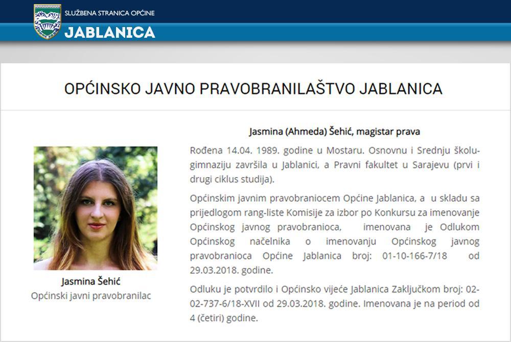 Jasmina Šehić, Jablanica