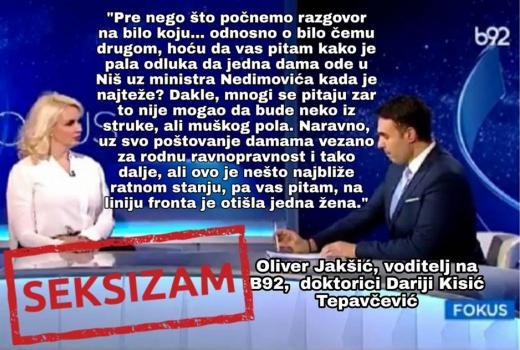 Seksizam. Oliver Jakšić voditelj na B92 doktorici Dariji Kisić Tepačević